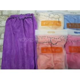 Полотенце-платье G2Q банное на резинке с пуговицей (без упаковки) микрофиба, размер 130*80 уп. 1 шт -(однотонное с бантиком) -(Без выбора цвета!)