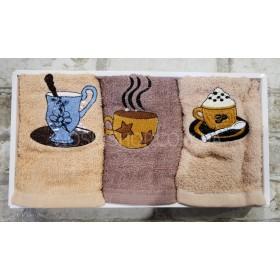 Набор полотенец в коробке 25-11 кухня (в уп.- 3 шт), размер 50*25- (чашки)
