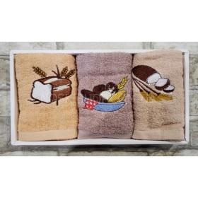 Набор полотенец в коробке 25-12 кухня (в уп.- 3 шт), размер 50*25- (хлеб)