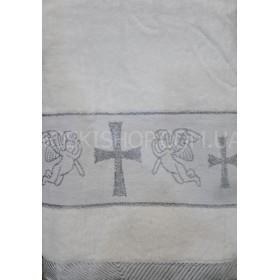 """Полотенце """"Крыжма"""" (крестильное) 087-5 велюр, размер 140*70, уп. 1 шт, (белое с серебряным узором)"""