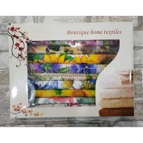 Набор льняных салфеток в коробке №187 (в уп. 10 шт)- микс расцветок