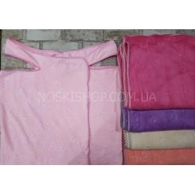 Полотенце-платье на шлейках+кнопки 2300-4 банное микрофиба-велюр, размер 130*80 (уп. 1шт), ассорти (однотонные с выдавленными бабочками)