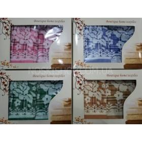 Набор льняных полотенец в коробке №200 (лицо+баня)- в уп. 2 шт, микс цветов в ассортименте