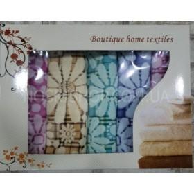Набор кухонных льняных полотенец в коробке №130-(в уп.- 5 шт), размер полотенец 45*25- (цветы)