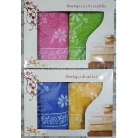 Набор лицевых полотенец в коробке №132-(в уп.- 2 шт), размер полотенец 90*45- (цветы)