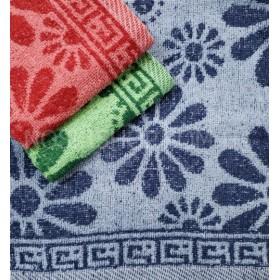 Полотенце 8-10-3 банное, размер 140*70 уп. 8 шт (три цвета, ромашки)