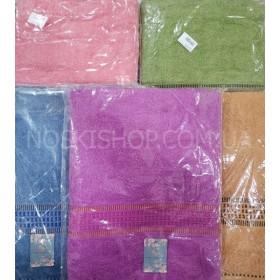 Полотенце МС-118 сауна махра, р. 160*80 (уп. 1 шт) -(однотонное+полоски кубиками) -цвета в ассортименте