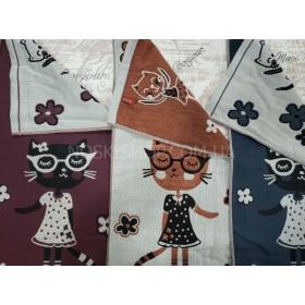 Полотенце 6580-4 кухонное (cotton), размер 70*35 уп. 12 шт (кот в очках)