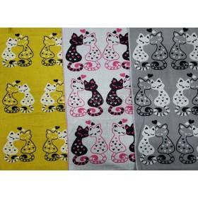 Полотенце 6580-1 кухонное лён-(cotton), размер 70*35 уп. 12 шт (парочки влюблённых котиков)