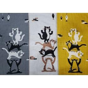 Полотенце 6580-2 кухонное лён-(cotton), размер 70*35 уп. 12 шт (кот на коте+рыбка)