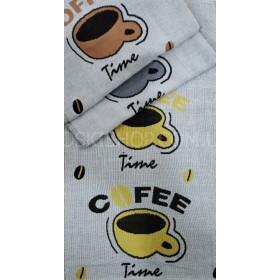 Полотенце 6260-12 кухонное лён-(cotton) размер 50*25 уп. 12 шт -(CAFE+чашка)