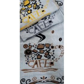 Полотенце 6259-12 кухонное лён-(cotton) размер 50*25 уп. 12 шт -(CAFE+сервиз)