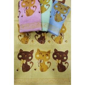 Полотенце 32-40 лицевое велюр-махра, размер 90*45 уп. 8 шт (большие коты)
