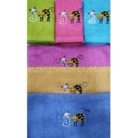 Полотенце 4521-19 кухонное, размер 70*35 уп. 12 шт (яркие цветные+два маленьких котика)