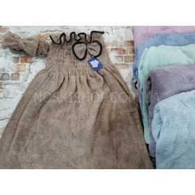 Полотенце-платье 130-66 банное на широкой резинке резинке+повязка (в сумочке), размер 140*90 -уп. 1 шт. -(однотонное травка) -(Без выбора цвета!)