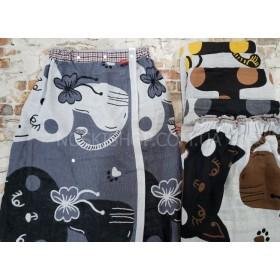 Полотенце-платье А220-10 банное резинке+кнопки Cotton- лён, размер 140*75уп. 1 шт -(Котики) -микс цветов -(без выбора цвета)