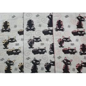 Полотенце 6263-15 кухонное лён-(cotton) размер 50*25 уп. 12 шт (микс черненьких котят)