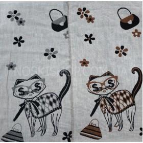 Полотенце 6266-18 кухонное лён-(cotton) размер 50*25 уп. 12 шт (кот в глазах $ +сумочки)