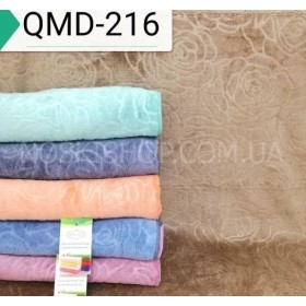 Полотенце QMD-168 банное размер 140*70 уп. 6 шт велюр-микрофибра -(выдавленные однотонные розы)