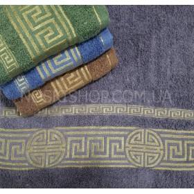 Полотенце 622-2-145 лицевое размер 90*45 уп. 8 шт (Однотонное+золотой квадратный орнамент с кругами)