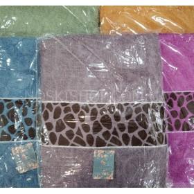 Полотенце С-30113 сауна махра, р. 160*80 (уп. 1 шт) -(однотонное с тигровой вставкой) -микс цветов -(без выбора цвета)