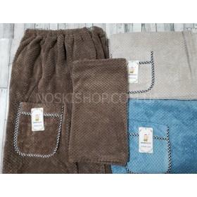 Полотенце-Килт BENY4-30 на резинке с пуговицами банное +лицевое полотенце, микрофибра р. 144*80/80*35 -(однотонное) -уп. 1 шт. -микс цветов -(без выбора цвета)