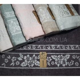Полотенце 3200-В-180 лицевое размер 90*45 уп. 6 шт (однотонное+белый цветочный узор)