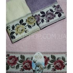 Полотенце 06-960 кухонное размер 35*35 уп. 12 шт (Однотонное+крупные розы)