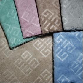 Полотенце 620-252 лицевое микрофибра-велюр размер 90*45 уп. 6 шт. (однотонное +квадратный узор по всему полотенцу)