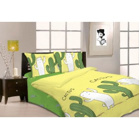 """Комплект постельного белья """"Constansy"""" №109 -1.5 м-(полуторный) Gold -Пакистан р. 150*220/70*70 -(жёлтая +зеленые кактусы+кот -1.5)"""