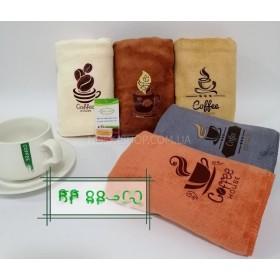 Полотенце KFB-87-800 кухонное микрофибра-велюр, размер 50*25 уп. 20 шт. (однотонные +микс кофейных чашек -50*25)