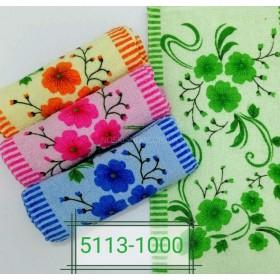 Полотенце 5113-1000 кухонное р. 50*25 -уп. 20 шт -(веточки с большими цветами +по боками полосочки -кухня)