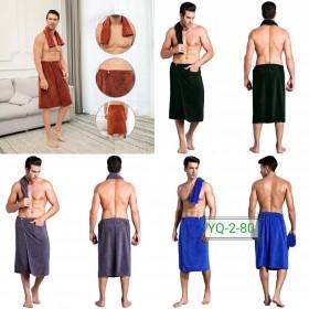 Набор мужской банный YQ-2-80  полотенце на резинке и кнопках +полотенечко, микрофибра-велюр, р. 150*65, 70*35 -(однотонное) -БЕЗ ВЫБОРА ЦВЕТА!!!