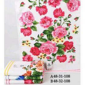 Полотенце А-48-31 банное р. 140*70 уп. 6 шт (белое +большие цветы -баня)