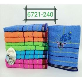 Полотенце 6721-240 лицевое, размер 90*45 уп. 10 шт -(бабочка +букетик -лицо)