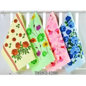 Полотенце Т159-2 кухонное махра-велюр р. 50*25 уп. 20 шт -(цветы) -в упаковке один вид узора -микс расцветок