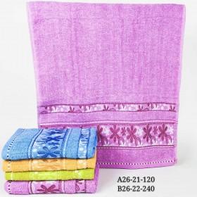 Полотенце В26-21 банное р. 140*70 уп. 8 шт (однотонные +орнамент кляксы -баня)