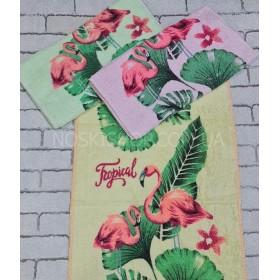 Полотенце XQ-7кухонное, размер 70*35 уп. 10 шт -(фламинго в зелёных листьях -кухня)