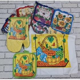 Кухонный набор №35 полотенце, прихватка, рукавица -(БЕЗ ВЫБОРА РАСЦВЕТКИ!!!)
