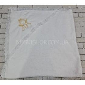 """Полотенце """"Крыжма"""" 2021 крестильное с уголком микрофибра-травка р. 110*110 -уп. 1 шт -(белое +золотистая вышивка)"""