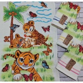 Полотенце 4001-108 банное р. 140*70 -уп. 6 шт (молочное +тигрята на травке -баня) -символ 2022 года!