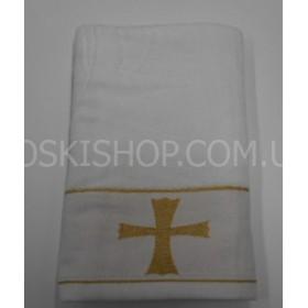 """Полотенце """"Крыжма"""" (крестильное)  087-4 велюр, размер 140*70, уп. 1 шт, (белое)"""
