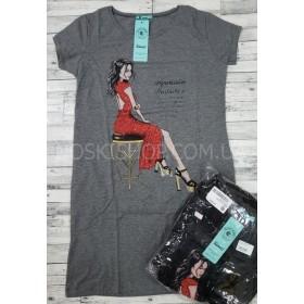 Платье-туника женская №334 (девушка в красном платье) cotton+lycrа, по бокам карманы р. 1-(42-46), 2-(44-48) -(норма) -уп. 4 шт -(чёрное, серое)
