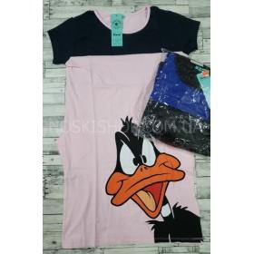 Платье-туника женская №603 (комбинированное+утка) cotton+lycrа, по бокам карманы р. 1-(42-46), 2-(44-48) -(норма) -уп. 4 шт -(розовое с темно синим, черное с ярко синим)