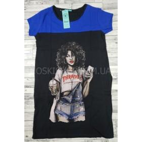 Платье-туника женская №603-1 (кучерявая девушка) cotton+lycrа, по бокам карманы р. 1-(42-46), 2-(44-48) -(норма) -уп. 4 шт -(комбинированное черное с синим)