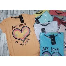 Футболка женская 1111-18 (радужное сердце+крупные надписи) хлопок р. S, M, L, XL -(42-44, 44-46, 46-48, 48-50) -(красная, голубая, мята, серая, пудра, белая, жёлтая, пудра, оранжевая)