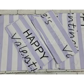 """Комплект постельного белья """"Constansy"""" №124 -1.5 м-(полуторный) бязь-Gold -Пакистан р. 150*220/70*70 -(фиолетовые+белые широкие полоски с черными надписями -1.5)"""