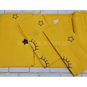"""Комплект постельного белья """"Constansy"""" №219 -2м (двуспальный) бязь-Gold -Пакистан р. 180*220 -(одноцветная жёлтая+глазки+звёздочки -2м)"""
