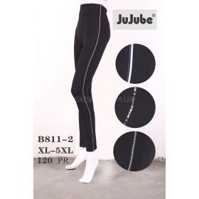 """Лосины """"Jujube"""" В-811  бесшовные хлопок р. ХL/5XL-(48-54) -(чёрные +по бокам лампасы)"""