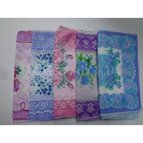 Носовой платок женский без упаковки 30*30, расцветки в широком ассортименте (уп.10 шт)